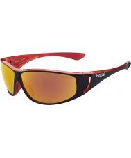 Bolle Highwood negro brillante de color rojo gafas de sol polarizadas de fuego tns