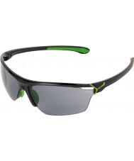 Cebe Cinetik grandes brillantes negras gafas de sol verdes