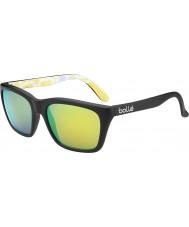 Bolle 527 de recogida retro mate gráficos en negro gafas de sol polarizadas esmeralda marrón