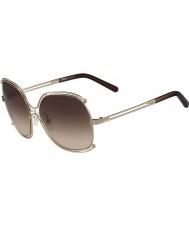Chloe Señoras ce129s aumentaron las gafas de sol marrones de oro y transperent