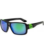 Cebe Lam brillantes negras gafas de sol verdes