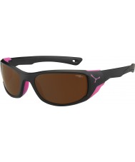 Cebe JORASSES mate medio negro rosa 2000 gafas de sol de espejo de destello de color marrón