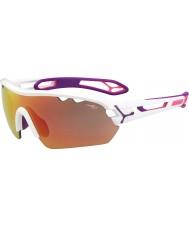 Cebe S-pista mono medianas blancas brillantes de color rosa 1500 gafas de sol de espejo gris de color rosa con lente de reemplazo clara