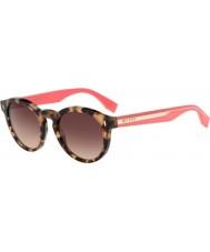 Fendi Color bloque FF 0085-s hK3 d8 gafas de sol rosadas Habana