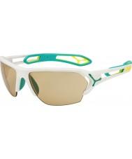 Cebe S-pista gafas de sol de gran blanco mate turquesa variochrom Perfo con 500 lente de reemplazo clara