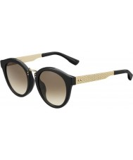 Jimmy Choo Damas pepy-s qfe jd negro se levantó las gafas de sol de oro